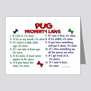 Pug Property Laws 2 Note Cards (Pk of 20)