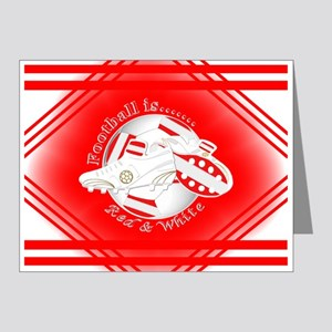 Red And White Football Soccer Note Cards