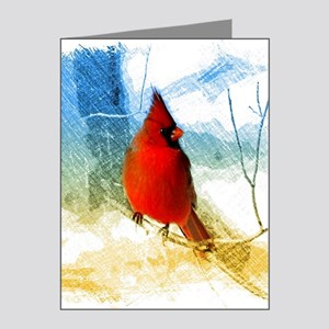 watercolor winter red cardin Note Cards (Pk of 20)