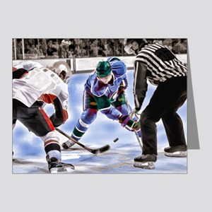 Hocky Players and Referee at Center Ice Note Cards