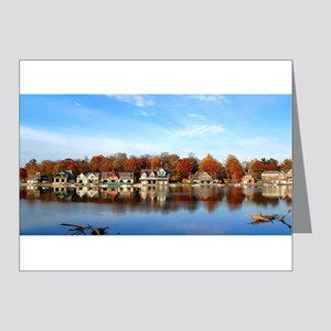 boat house row daytime Note Cards