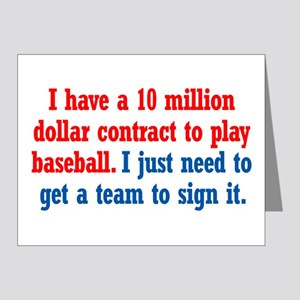 Baseball Contract Note Cards (Pk of 20)
