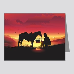 Cowboy and Horse at Sunset Note Cards (Pk of 20)