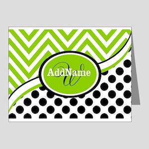 Monogrammed Chevron Polka Do Note Cards (Pk of 20)