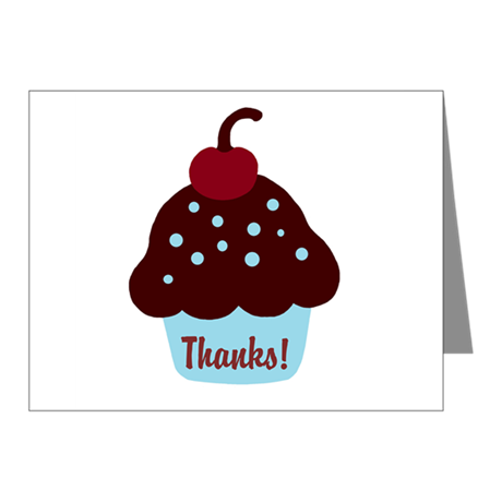 Blue and Brown Cupcake Thank Note Cards (Pk of 20)