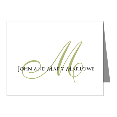 Names and Monogrammed Initial Note Cards