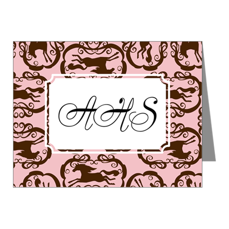 Horse Silhouette Brown Pink Note Cards (Pk of 20)