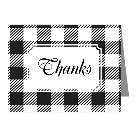 Plaid BW Note Cards (Pk of 20)