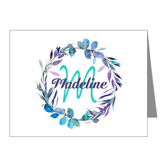 Purple Teal Wreath Monogram