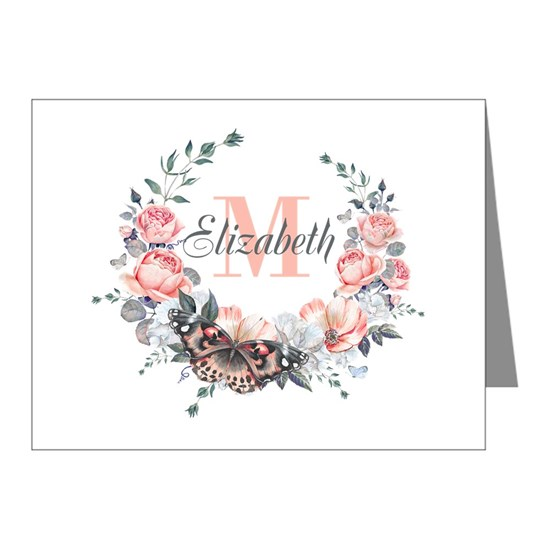 Peach Floral Wreath Monogram