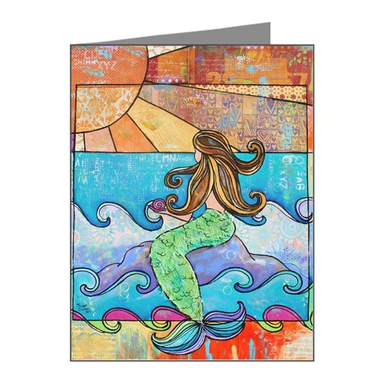 Colorful Mermaid at Sunset Beach