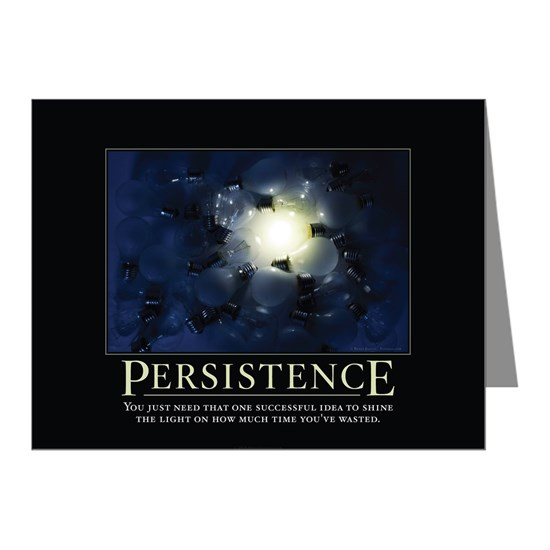 Persistence Motivational Quotes: Persistence Demotivational Poster-17 Note Cards (Pk Of 20
