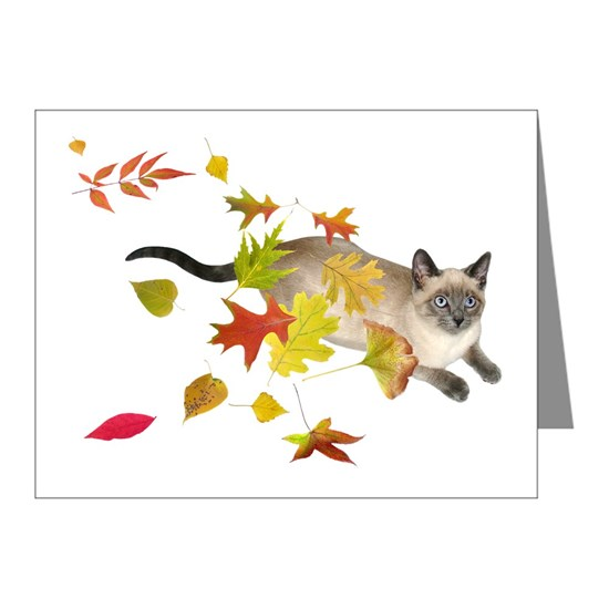 Siamese Cat Fall Leaves