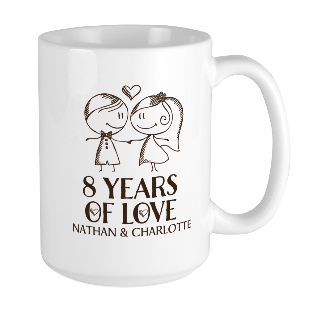 8th Wedding Anniversary Personalized 15 Oz Ceramic Large Mug 8th Wedding Anniversary Personalized Mugs By Homewiseshopper Cafepress