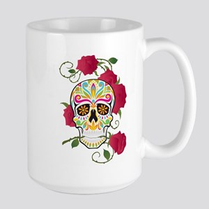 Rose Sugar Skull 15 oz Ceramic Large Mug