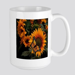 Sunflower Radiance Monarch Butterfly Large Mug
