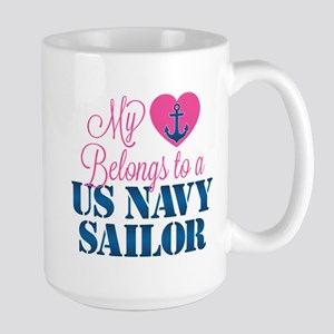 Heart Navy Sailor Large Mug