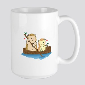 Cute Hedgehog couple sailing on wooden boat Mug