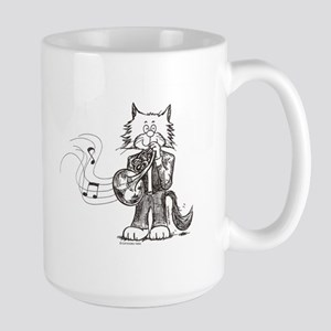 CatoonsT French Horn Cat Large Mug