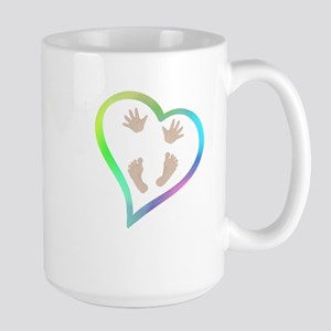 Baby Hands and Feet in Heart Mugs