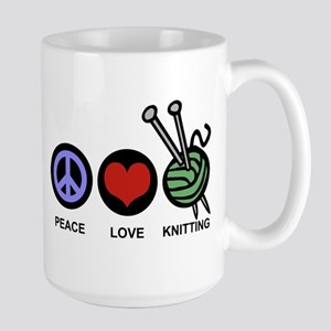 Peace Love Knitting Large Mug