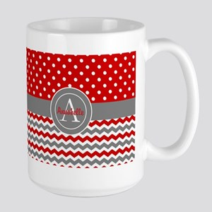 Red Gray Polka Dot Chevron Mugs