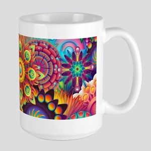 Psychedelic Floral Pattern Red Green Blue Mugs