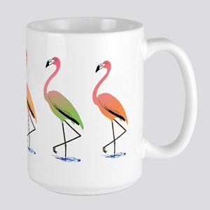March of the Tropical Flamingos Large Mug