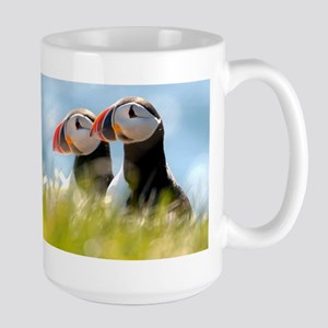 Double Puffin Pair Large Mug