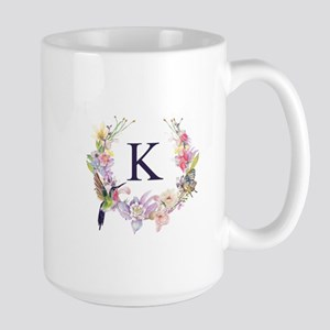 Hummingbird Floral Wreath Monogram Mugs