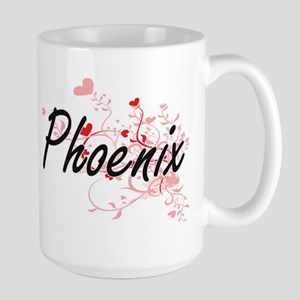 Phoenix Artistic Name Design with Hearts Mugs