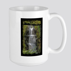 Garden Waterfall Watercolor Large Mug