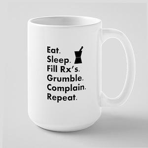 pharmacy eat sleep grumble Large Mug