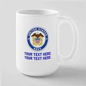 US Navy Sign Personalized 15 oz Ceramic Large Mug