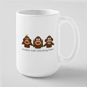 3 Wise Sock Monkeys Large Mug