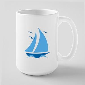 Blue Sailboat Large Mug