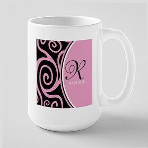 Elegant Black Pink Swirls Monogram Stainless Steel
