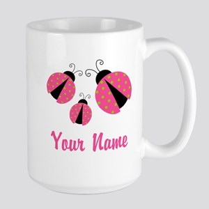 Pink Green Ladybug Personalized Mugs