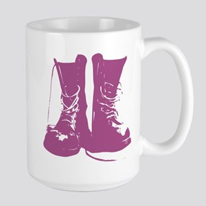 Purple Combat Boots with Untied Laces Large Mug