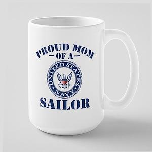 Proud Mom Of A US Navy Sailor Large Mug
