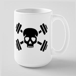 Crossed barbells skull Large Mug