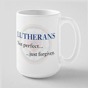 Lutherans Not Perfect Just Forgiven Large Mug