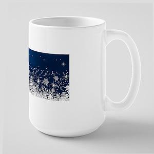 Decorative Blue Winter Christmas Snowflakes Mugs