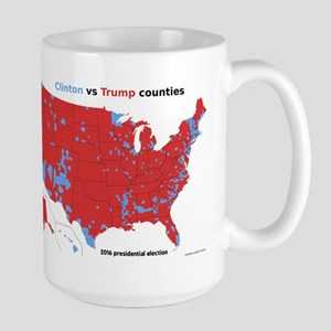 Trump vs Clinton Map Large Mug