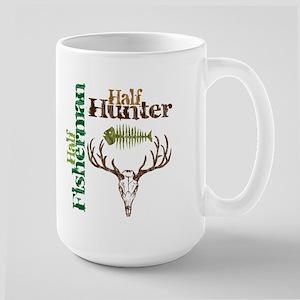 Half Fisherman. Half Hunter. Large Mug