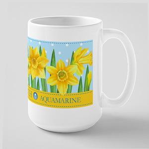 Birth Flowers And Gem March Large Mug