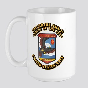 USS Tarawa (LHA-1) with Text Large Mug