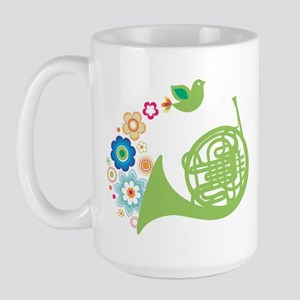 Retro Flower French Horn Large Mug