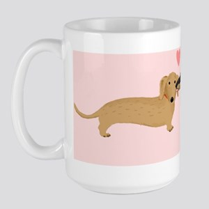 dachshund kiss Large Mug