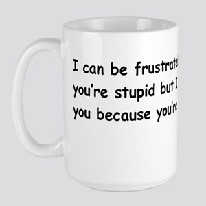maddow stupid evil sticker black Large Mug